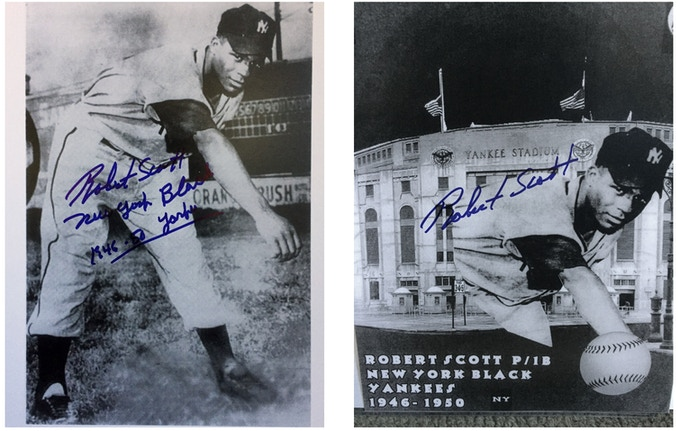 Personally Autographed photo, Bob Scott - Played for the NY Black Yankees and barnstormed with Jackie Robinson 2 different photos available as rewards