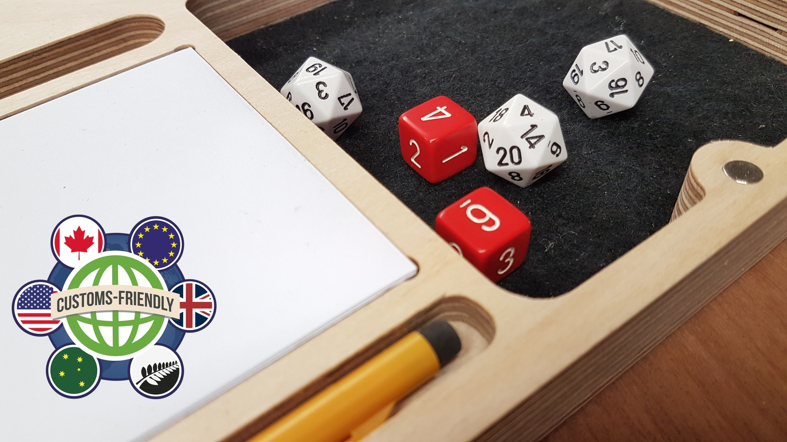 Play RPG games on the couch, in the car or anywhere you like. Play at the games table without anyone stealing your dice or pencil.