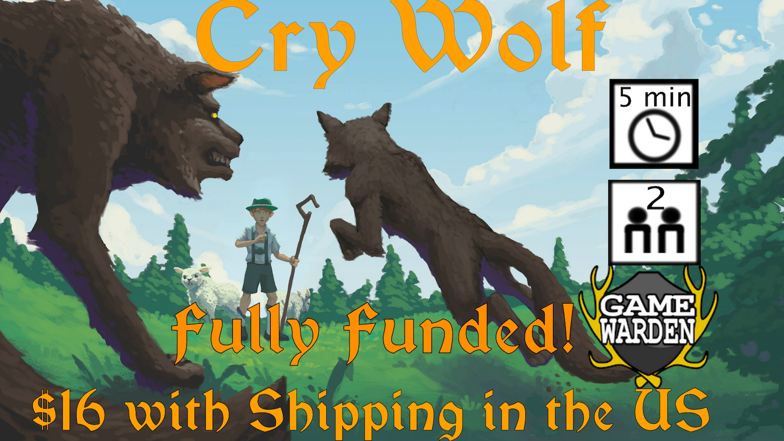 Cry Wolf is a two player, micro-game, that features beautiful artwork, and  plays in just five minutes,  ending in nail biting choices.