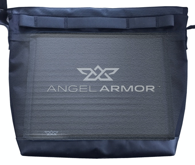 """Back pocket is sized to snugly hold a 9""""x12"""" AngelArmor Ally One bulletproof panel (optional accessory). Less than a quarter inch thick and less than a pound, it's the lightest life insurance policy you can buy."""