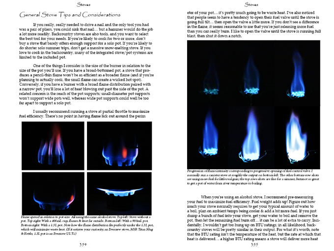 A sample spread from, you guessed it, the stove chapter