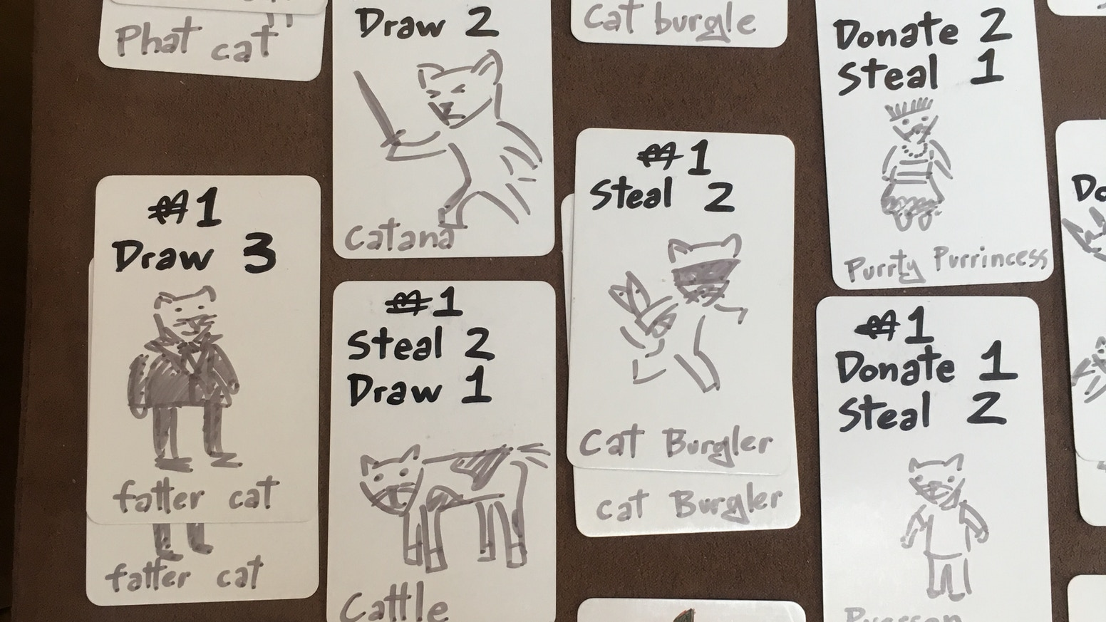 Quick game for 2-5 cats. On your turn, play a card and do what it says. Steal, donate and pass around cards. Try to keep your meowney!