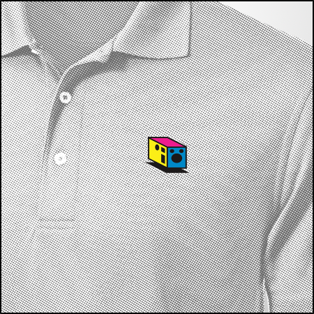 Polo Shirt Reward with Box Icon. Pictured in grey. Available In black, red, blue, and white.