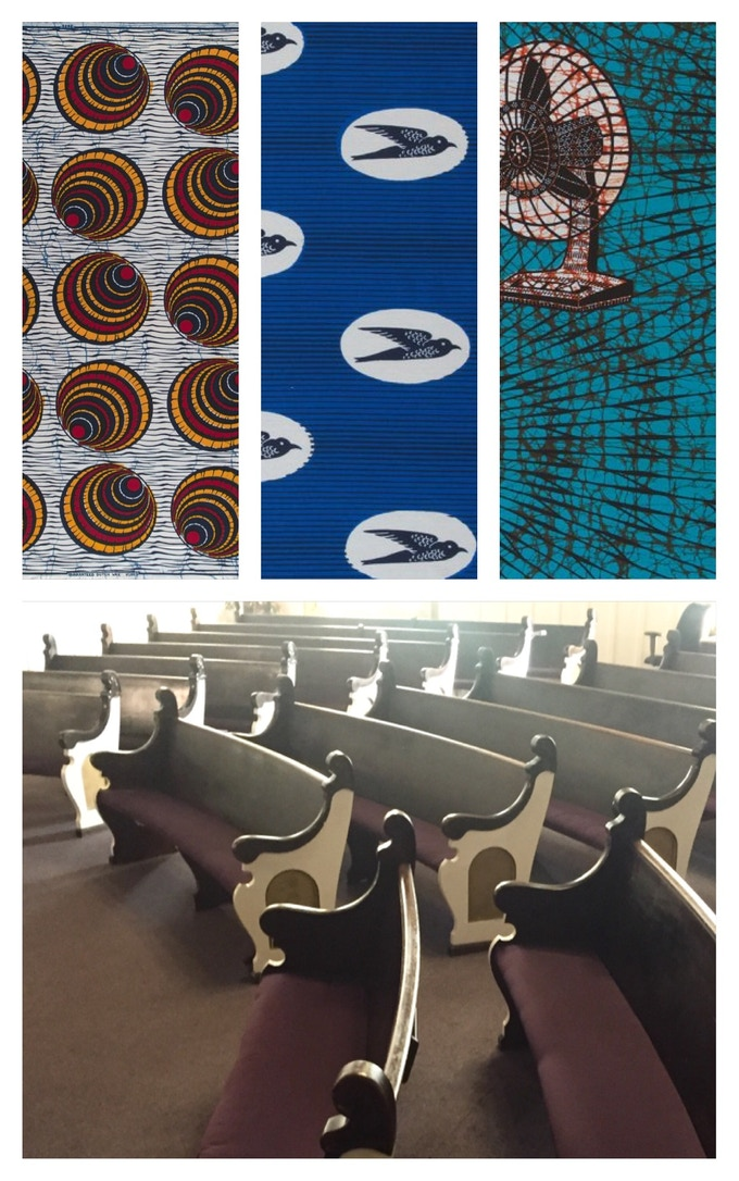 The Pews will be given away as rewards: Aline will customize the pews with her collection of Benin fabrics