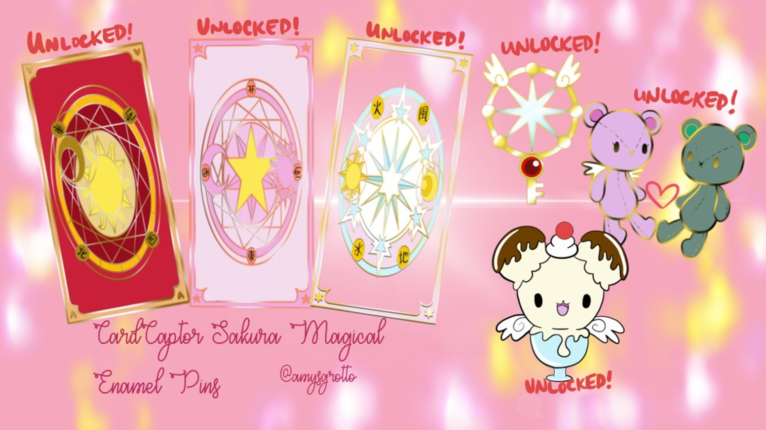 Cardcaptor sakura magical card accessories enamel pin pins by thank you so much for helping me bring these magical pins to life you can kristyandbryce Gallery