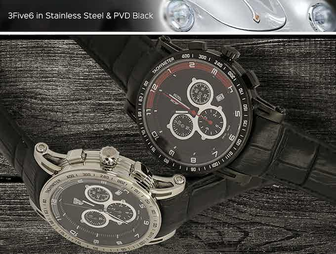 3Five6 in surgical grade 316L stainless steel 43mm case & PVD Black