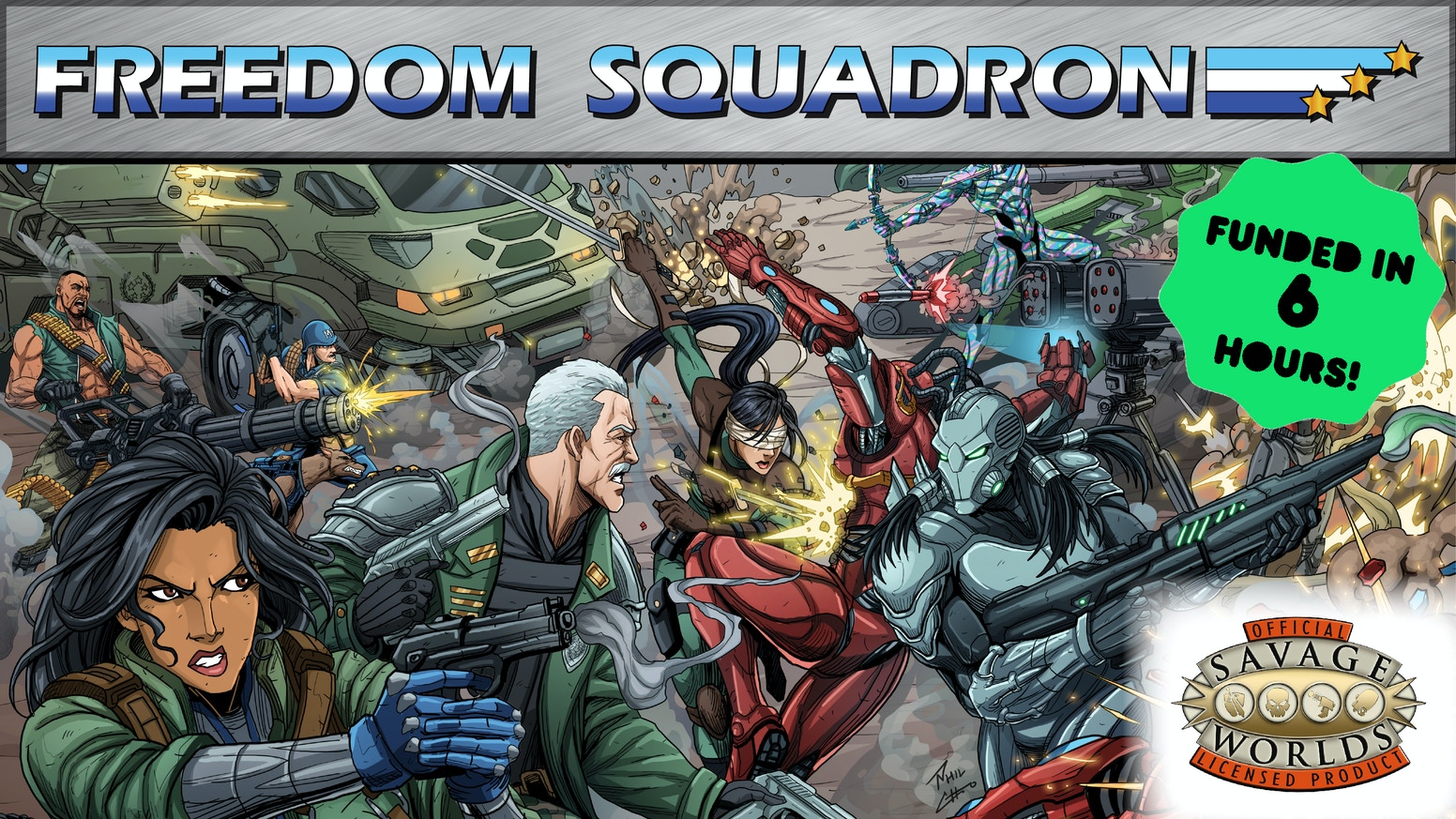 "Freedom Squadron is a high-octane ""Love Letter to 80's Cartoon Action Heroes,"" featuring new rules and new options for Savage Worlds."