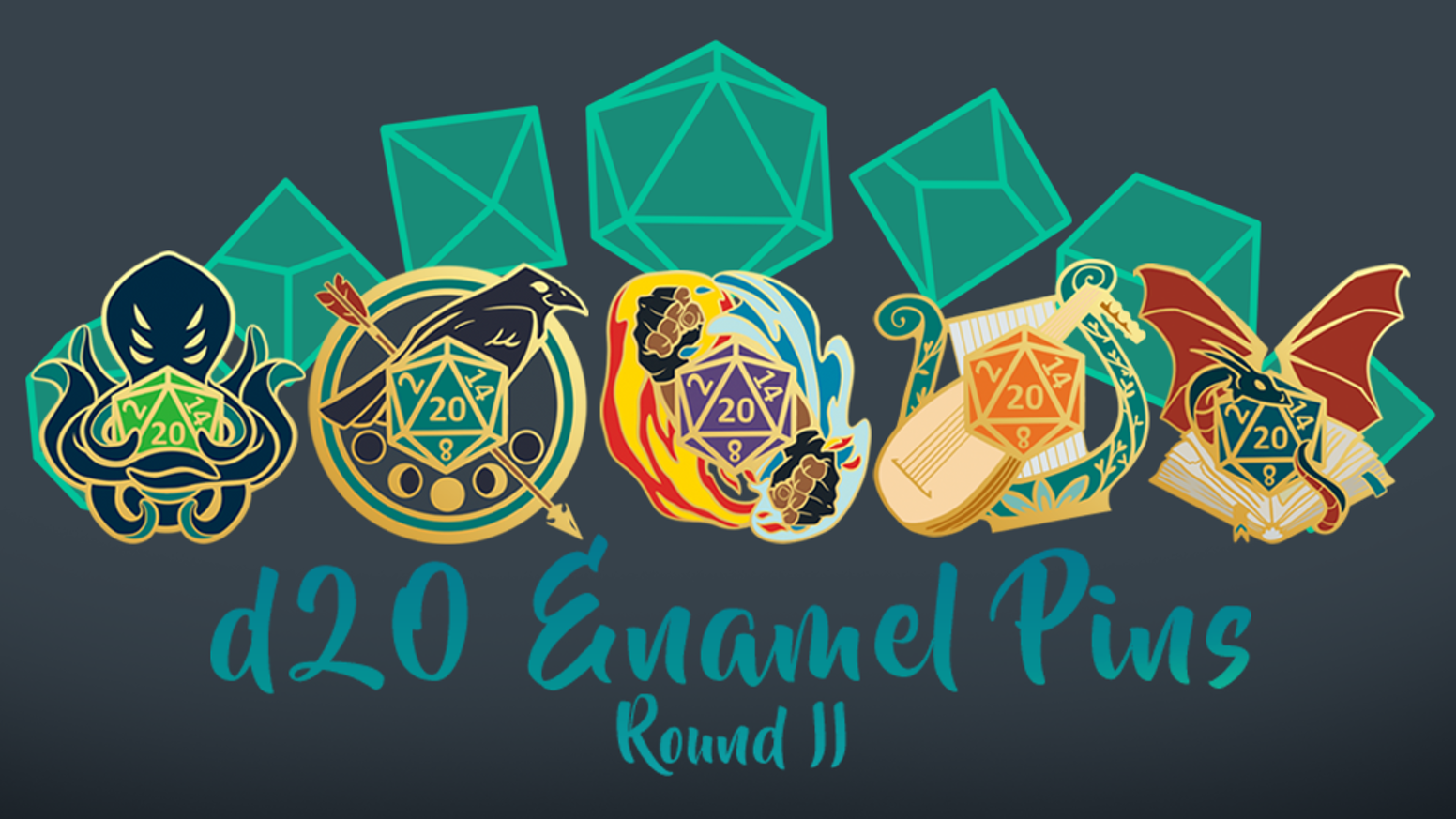 D20 Hard Enamel Pins inspired by classes from Dungeons & Dragons, and other tabletop RPGs.