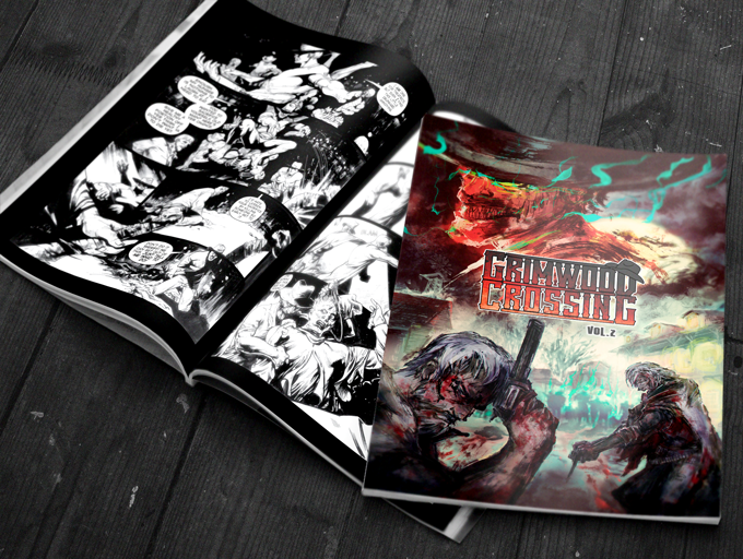 """Standard US comic book (7""""x10.5"""") with black and white interiors. Grimwood Crossing Vol.2 Kickstarter Edition (final artwork shown)"""