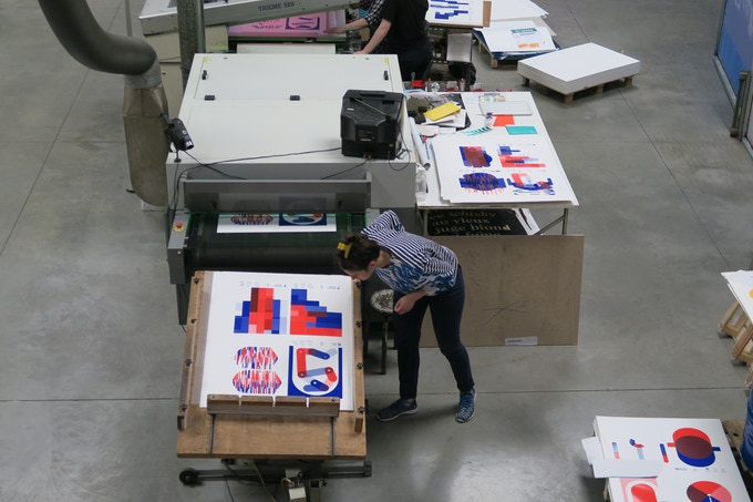 Printing prototypes at Lezard Graphique in Strasbourg, France. 2017.