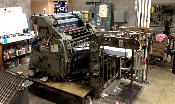 The old press used to print the wrappers.