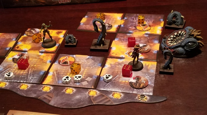 Example of minis on game board.