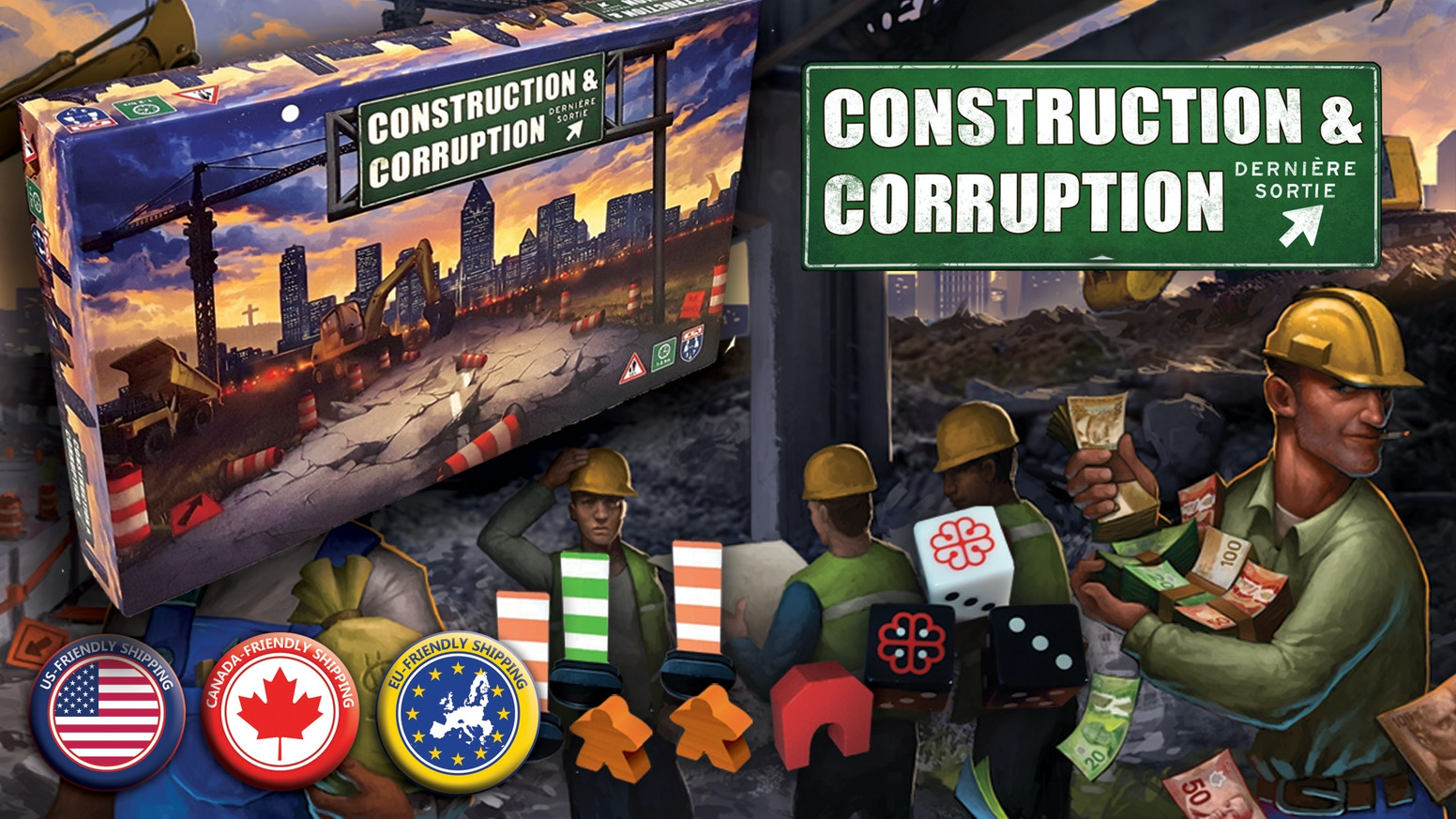 A negotiation game based in Montreal. Filled with shady dealing, double-crosses, and of course, construction.
