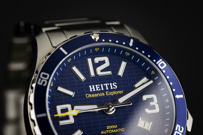 Deep Press Dial Blue with Yellow Accents