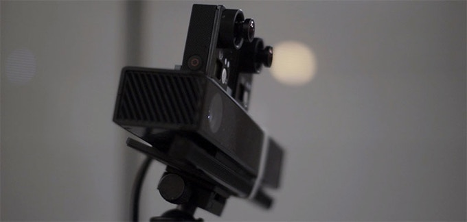 Image of our prototype 3D+Depth camera rig.