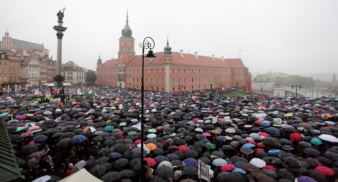 #BlackProtest/#CzarmyProtest against the total ban of all types of abortion access in Poland.