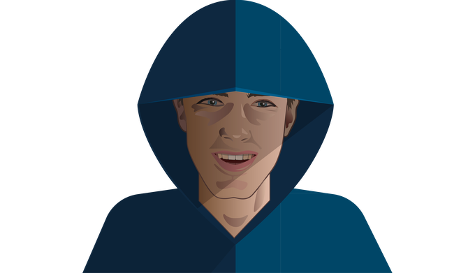 Example caricature for hacker pledge (pictured: Tyler Cheves, creator)