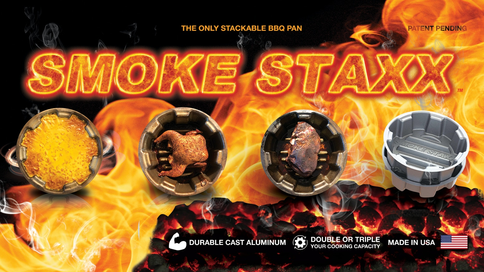 Take your backyard BBQ to the next level!  Maximize your cooking with Smoke Staxx - The Only Stackable BBQ Pans.