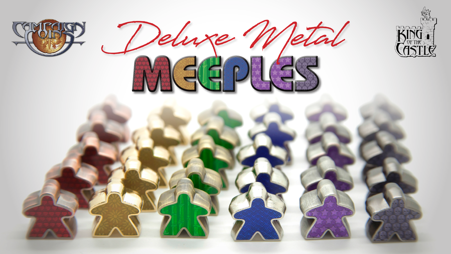 Beautiful metal meeples with gorgeous colour enamel, designed by Daniel Solis.