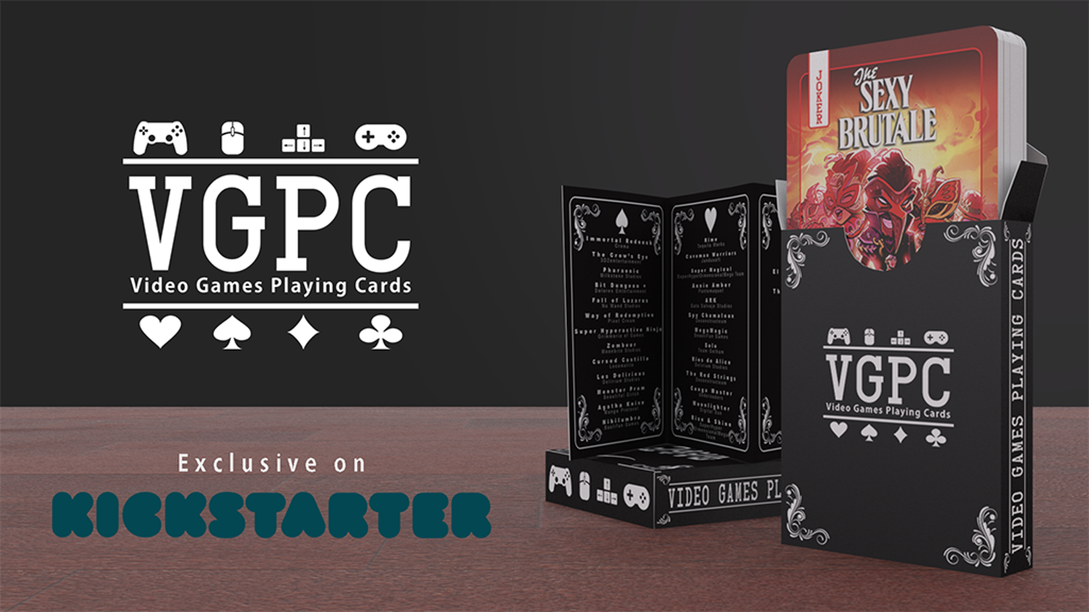 A deck featuring 54 video games for pc/console. Exclusive on Kickstarter