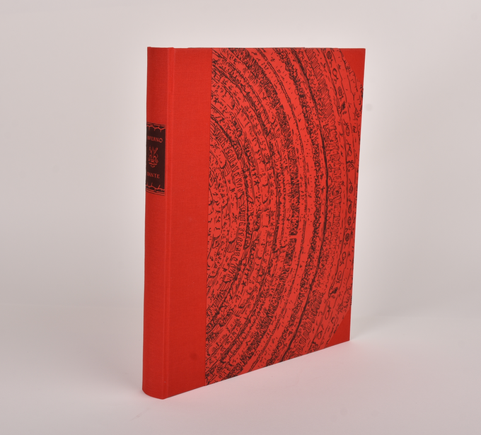 Our half-cloth version is bound in scarlet book cloth and letterpress board papers. The text is printed letterpress on heavy felt paper, with letterpress patterned endpapers.