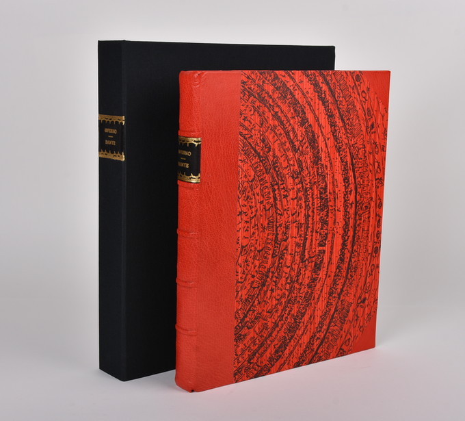 Our half-leather version is bound in scarlet Moroccan goatskin with handmade pastepaper. It comes in a suede-lined clamshell box with a leather spine label.