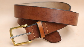 Oak Bark Tanned English Bridle Leather Belt - Handmade