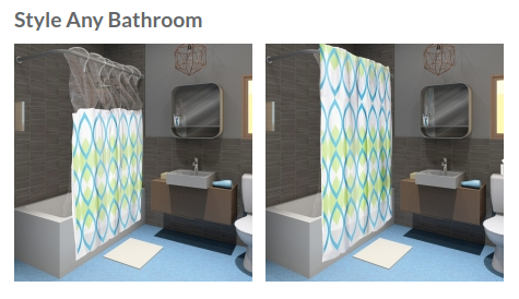 Real photo (see our prototype gallery) in digital rendering of bathroom, for context. Mid-Century style by Brian Sawyer.