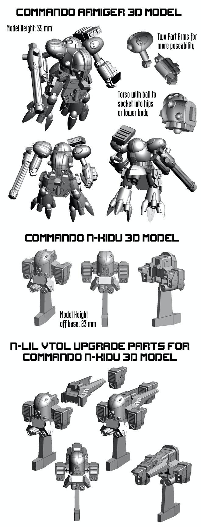 Commando Armiger and N-KIDU 3d Model Larger Images.