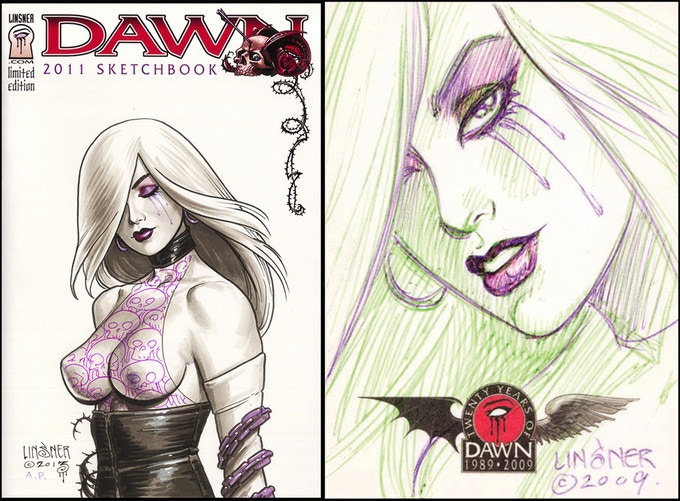 An example of the 2011 Sketchbook with Linsner sketch cover and the inked sketch trading card. (art will vary)