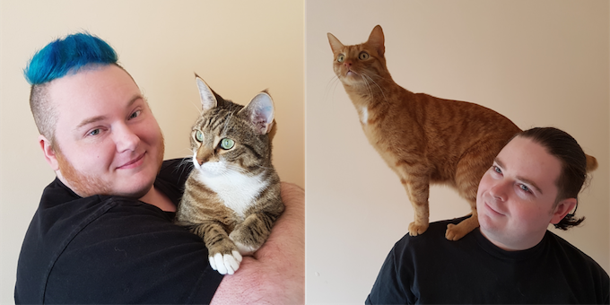 Erin Kyan, holding his cat Boop (left), Lee Davis-Thalbourne, with his cat, Tribble, perched on his shoulders (right).