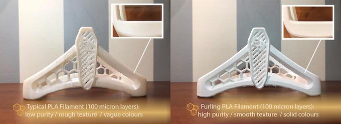 Typical PLA vs. Furling PLA