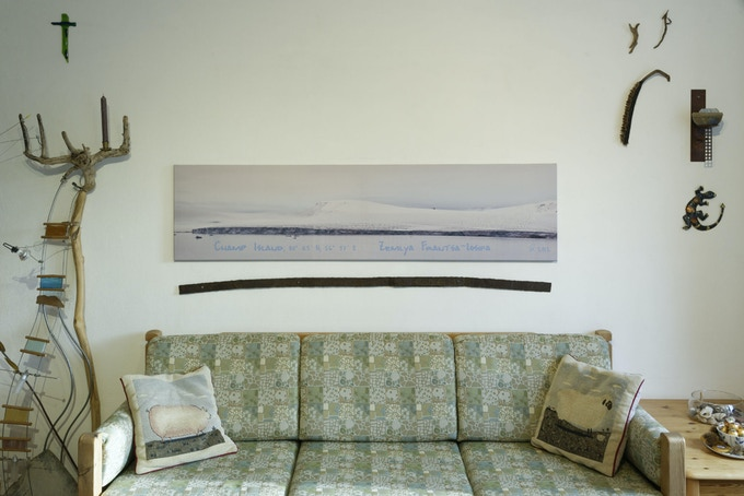 Panoramic canvas print as living room decoration.