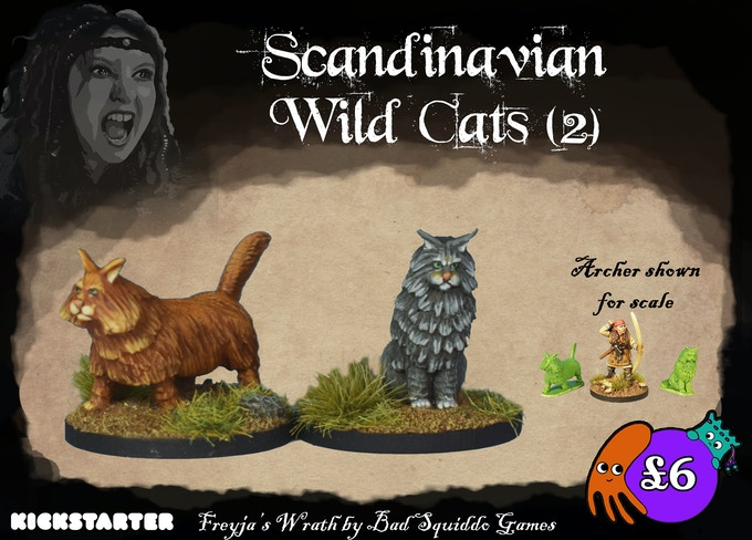 A set of 2 Wild Cats, cast in pewter. There is evidence for these cute meowers travelling on the Viking ships! Who else is going to catch the mice? Go on, indulge the dark ages' crazy cat ladies.