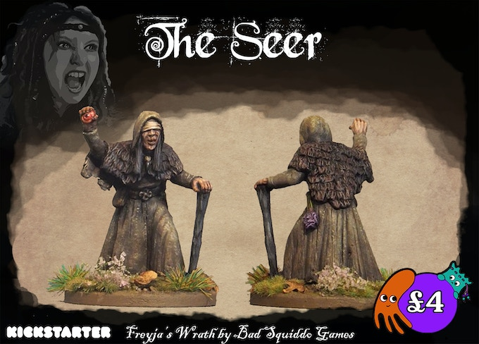 A one peice 28mm metal pewter casting. The seer, or vǫlva is a mysterious elderly lady who has come to aid the warband with her sorcery.