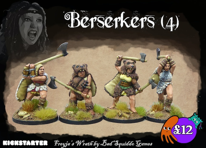 4 individual one peice pewter casts. The berserkers, clad in bearskins (and wolf if you paint them that way!) in a furious frenzy to hack the enemy to bits.