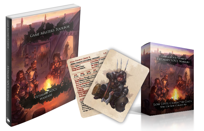 Ultimate NPCs: Warfare hardcover, reference cards, and reference card tuckbox mockups