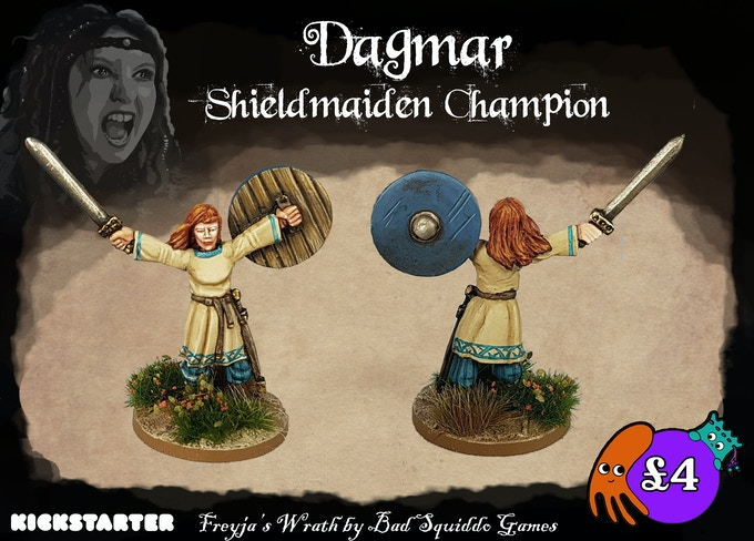 Dagmar is a one piece pewter casting. Classic pose! She makes a super Jarl or perhaps just a hero in a unit. Or a victory diorama!