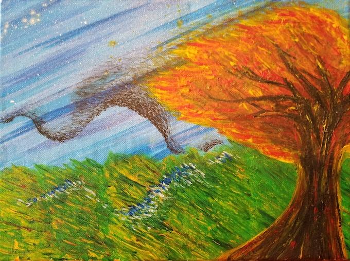 """""""Ravens"""". Leah Porter, Acrylic on Canvas"""