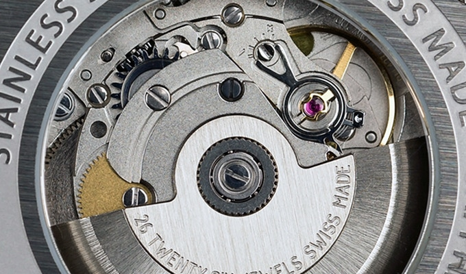 Prototype Only - The final movement will feature a custom engraved rotor with the brand name