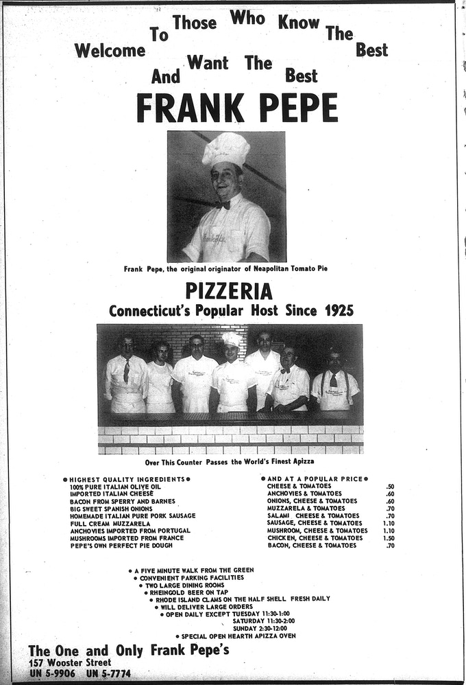 Vintage Pepe's ad from the Yale Daily News