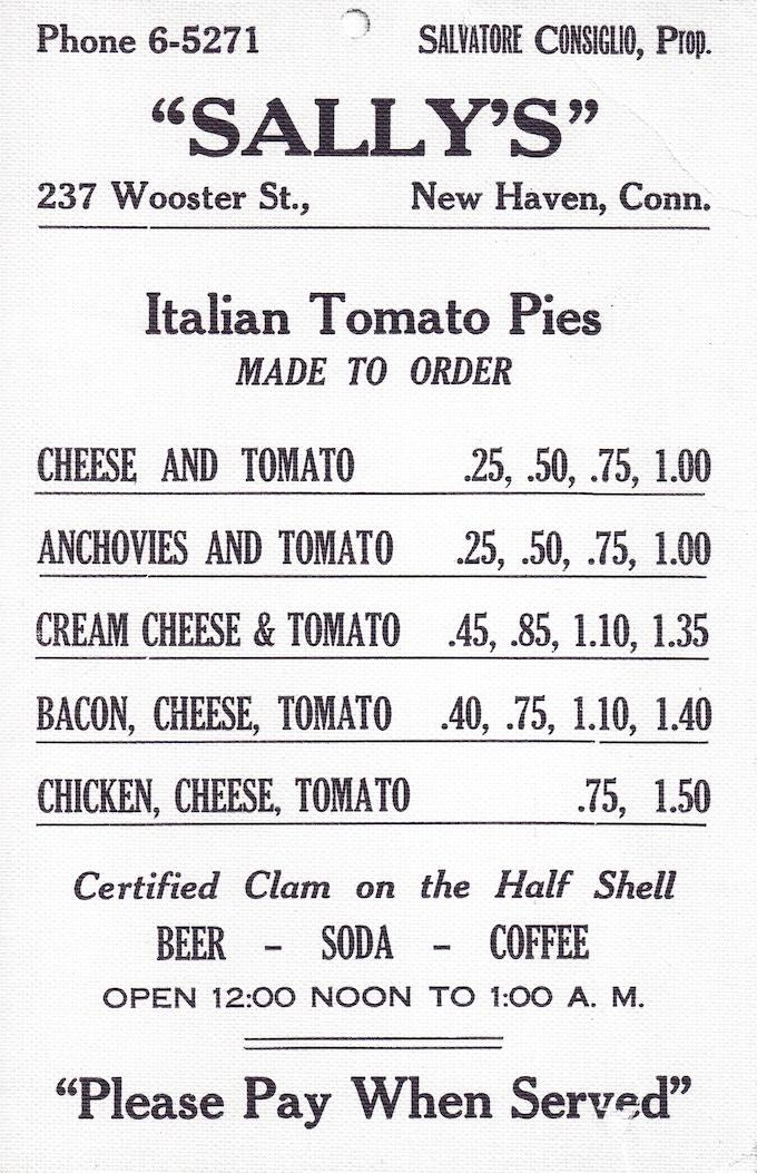 Vintage menu from Sally's