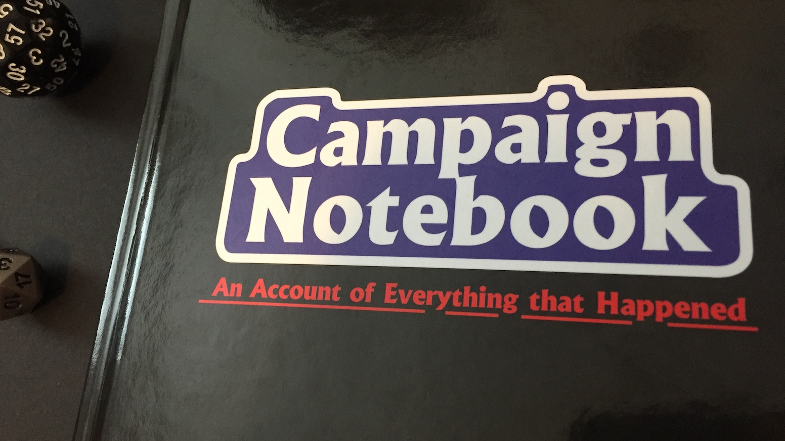 Campaign Notebook is a hardcover campaign journal for players and GMs with sections for everything.