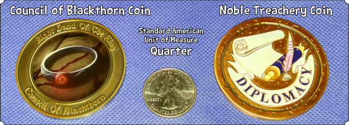 "Example of our previous 2"", 50 gram coins compared to a ~1"", 5.7 gram Quarter."