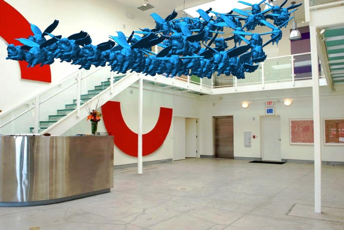 Armond Lara- Flying Blue Buffalo Project- Digital Rendering of Art Installation- Form and Concept Gallery