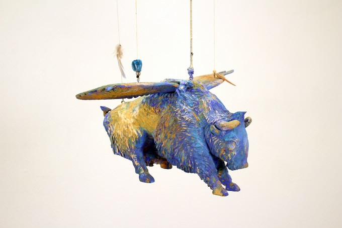Armond Lara- Flying Blue Buffalo Wood Carving- Santa Fe New Mexico- Form and Concept Gallery
