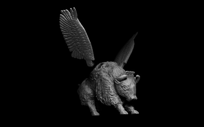 Digital rendering of 3D printed buffalo.