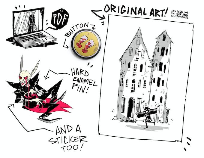 You know standard kickstarter fare digital copies special kickstarter editions stickers buttons pins original art from the book and original art