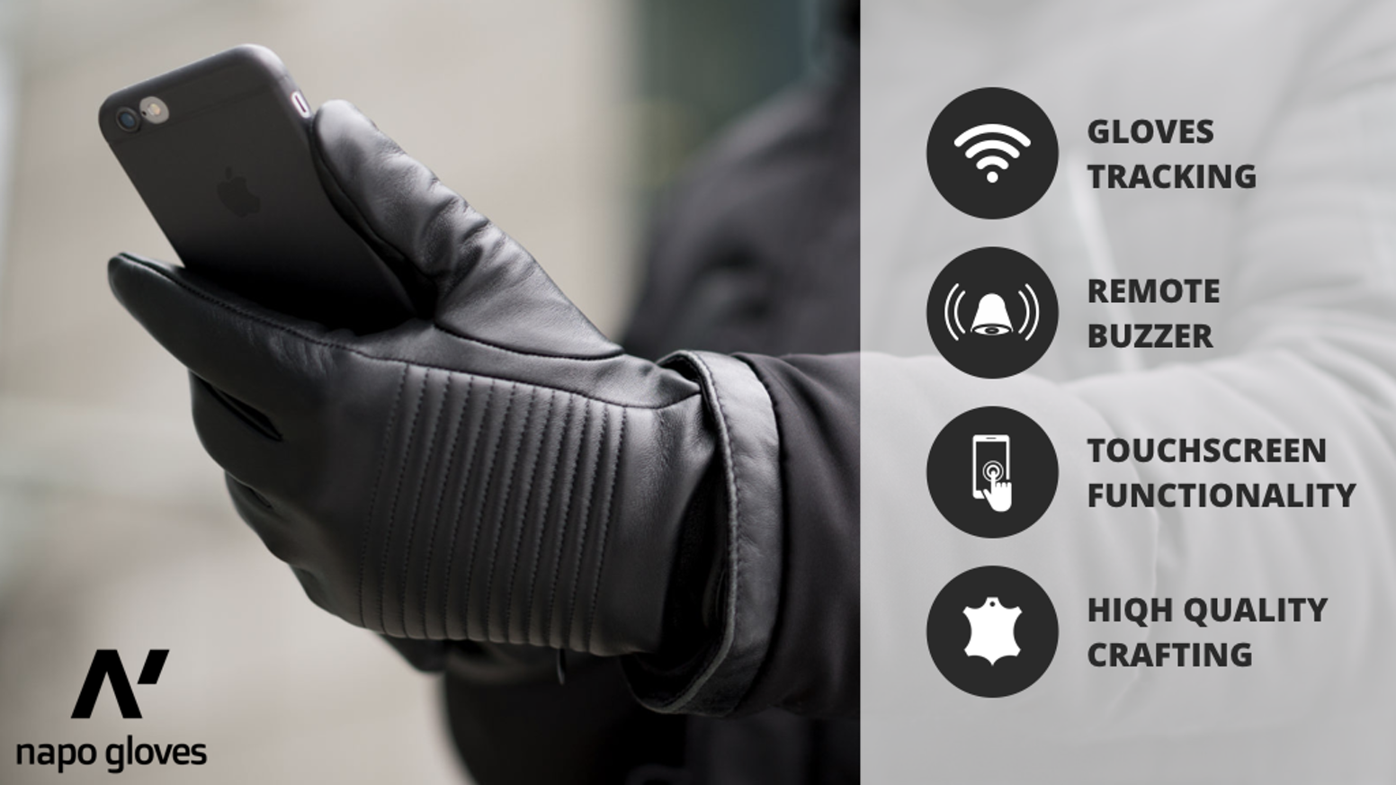 Smart leather gloves for the modern men with gloves tracking, remote buzzer and touchscreen functionality.