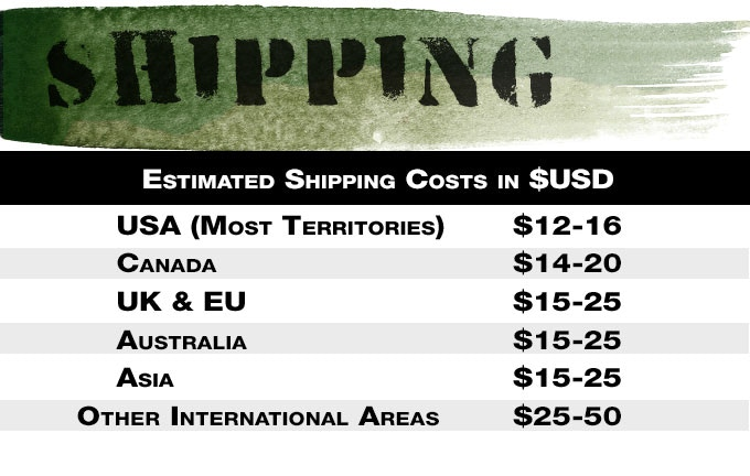*Please Note, Shipping Prices are ESTIMATES ONLY and are Subject to change in Pledge Manager